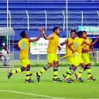 Abahani celebrates a goal