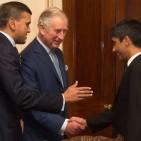 Manoj Badale, Chairman, British Asian Trust introducing HRH The Prince of Wales to Rikin Gandhi, CEO, Digital Green Photo Credit: Justin Goff