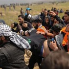 Israel Protestor shooting image