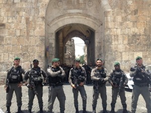 Israeli border police guard Lions' Gate during a protest ahead of midday prayers today (MME Jacob burns)