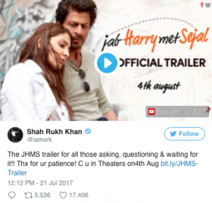 SRK Tweet on New Trailer
