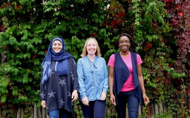 Saphia Khan and Alison Beacham and Claudette Dawson ready for Walk Together Birmingham 02