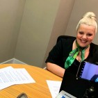 Yorkshire Building Society's Sharon Stirling filming a financial education lesson for children