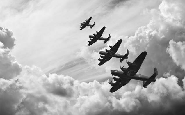 Black and white retro image Battle of Britain WW2 airplanes