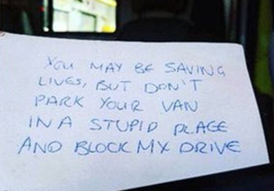The shocking note pinned to the windscreen of an ambulance on a 999 call