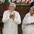 India's PM Modi and his Bangladeshi counterpart Sheikh Hasina clap during signing ceremony of agreements between India and Bangladesh in Dhaka